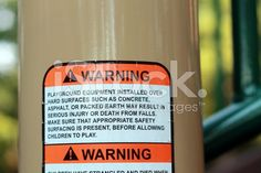 Warning label sign on playground equipment for safety royalty-free stock photo Stock photo ID:76244189