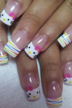 Cute and Creative Hello Kitty Nail Art Designs https://hative.com/cute-hello-kitty-nail-art-designs/ Please visit our website @ http://rainbowloomsale.com
