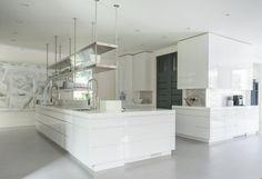 Shauna Pickering painting, art in a kitchen, white kitchen, modern kitchen
