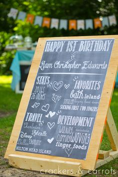 Chalkboard poster DIY~ How cute would that be to have that photographed each year of a child's life! Then you could shrink them down and have it all put in a big frame! <3