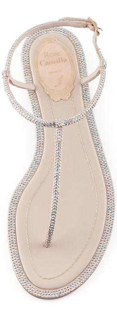 Rene Caovilla SS 2014 Crystal Flat Thong Sandal in Beige.