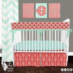 Coral and Mint Arrow Designer Created Crib Set - Gender Neutral Baby Bedding - Designer Created Crib Sets Baby Bump Bedding www.babybumpbedding.com