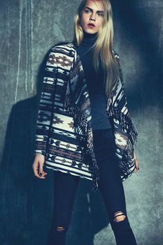 A statement aztec print jacket adds impact to casual outfits. #AW15edit #newlook #fashion
