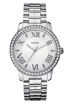 Guess Armbanduhr, »W0329L1«. Quartzwerk, Mineralglas, Kristallsteinen, Edelstahlgehäuse und -band, silberfarben IP-beschichtet, Gehäuse-Ø ca. 42 mm, Wasserdicht bis 3 bar,  ...
