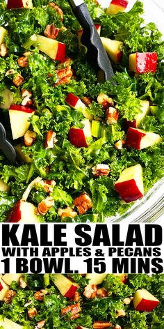 KALE SALAD RECIPE- The best, quick and easy kale apple salad, homemade with simple ingredients in one pot in 15 minutes. Loaded with fresh massaged kale, red apples, pecans, lemon and honey vinaigrette/ dressing. Can also add cranberries and almonds or crumbled goat cheese. From OnePotRecipes.com #salad #onepotrecipes #dinner