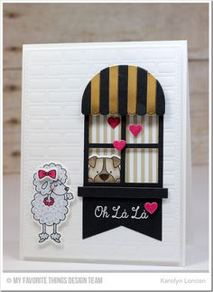 Lucky Dog, Lucky Dog Die-namics, Mon Chéri, Boutique Window Die-namics, Brick Wall Cover-Up Die-namics, Fishtail Banner Day STAX Die-namics, Blueprints 15 Die-namics, Love Centerpieces Die-namics - Karolyn Loncon  #mftstamps