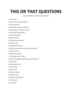 101 This or That Questions - Thought-provoking conversation starters. Questions To Get To Know Someone, Truth Or Dare Questions, Questions To Ask Your Boyfriend, Would You Rather Questions, Fun Questions To Ask, Funny Questions, Getting To Know Someone, Get To Know Me, Random Questions