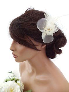 Cream Mesh Net Flower Crystal Feather Hair Comb Slide Fascinator Races Wedding
