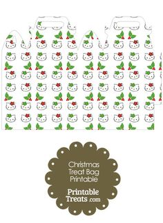 Hello Kitty Christmas Holly Treat Bag from PrintableTreats.com