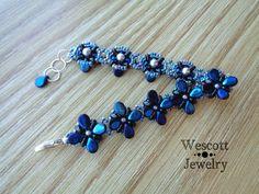 Jet Azuro Perky Pips Bracelet by WescottJewelry on Etsy