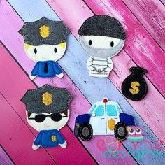 Finger Puppets – Cop and Robber Set is customizable - skin tone and hair colors  OOAK yours will vary slightly from the example photo Finished set is $14