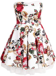 White Strapless Floral Pleated Flare Dress
