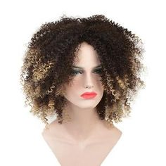 Short Ombre Blonde Color Afro Kinky Curly Synthetic Wig Items per Package: 1 Piece Only Can Be Permed: Yes Texture: Kinky Curly Wigs Length: Short Base Material: French Lace Cap Size: Average Size Material Grade: High Temperature Fiber Density: 180% Color of Lace: Transparent Lace Wig Type: None Lace Wigs