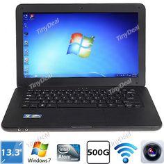 "13.3"" Windows 7 Intel Atom D2500 Dual-core 500GB Laptop Notebook w/ Camera WiFi - Black L-162983"