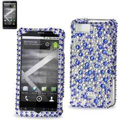 Hard Diamante Protector Skin Cover (Faceplate/Snap On) Full Rhinestones Diamond Bling for Motorola DROID X Android Phone MB810 Verizon Wireless - Blue Rain Drop
