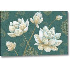 East Urban Home 'Lotus Dream IB' Framed Graphic Art Print on Canvas Size: Canvas Art Prints, Canvas Fabric, Lotus Painting, Pattern Illustration, Frames On Wall, Wrapped Canvas, Graphic Art, Canvas Size, Artwork