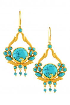 Silver Gold Plated Floral Turquoise Bead Earrings