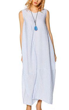 LeFuPeng Blue Linen Maxi Dress via @bestchicfashion