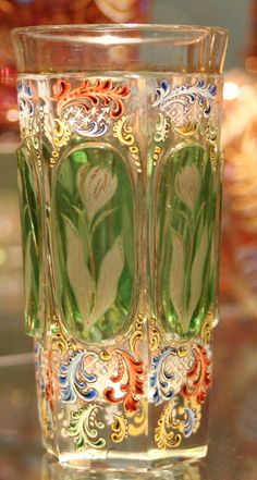 Richly decorated vintage vase/beaker by Moser Crystal Glassware, Antique Glassware, Vase Cristal, Vases, Art Of Glass, Tiffany Glass, Glass Ceramic, Carnival Glass, Colored Glass