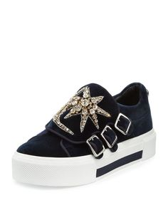 """Alexander McQueen velvet fabric sneaker with jeweled star and moon appliqus. 1.5"""" platform heel. Round toe. Triple-monk strap. Silvertone hardware. Rubber outsole. Made in Italy."""