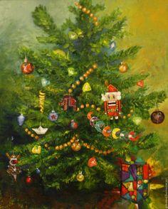 Купить Картина маслом Новогодняя Щелкунчик 40 на 50 см оформлена, в раме - зеленый, Праздник