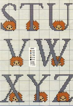 Hedgehogs alphabet S-Z Cross Stitch Alphabet, Cross Stitch Patterns, Cute Characters, Different Patterns, Letters And Numbers, Le Point, Couture, Hedgehog, Needlework