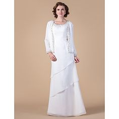 Sheath/Column Scoop Floor-length Chiffon Mother of the Bride Dress With A Wrap – USD $ 199.99