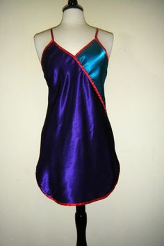 80's Shiny Color Block Liquid Satin Gloss Silky Soft Gown