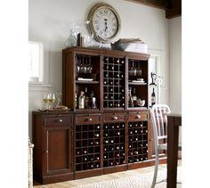 Modular Bar Cabinet with 1 Wine Hutch & 2 Open Hutch #potterybarn