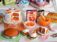 Miniature Easter Carrot Cake Baking Set by CuteinMiniature on Etsy