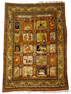 Persian Tabriz pictorial rug, x with text and scenes from the Shahnameh reading, similar to a larger pictorial Tabriz carpet that is in the Carpet Museum of Iran, Sotheby's Persian Carpet, Persian Rug, Turkish Rugs, Iranian Rugs, Teheran, Art Chinois, Dark Carpet, Tabriz Rug, Art Japonais