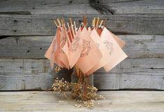 Personalized Peach Fabric Wedding Wands, Rustic Wedding Decor, Wedding Ceremony Flags, Wedding Send Off, Wedding Favors, Peach Wedding