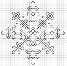 free blackwork snow crystal pattern