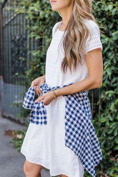 Merrick's Art J. Merricks Art, Gingham Shirt, Little White Dresses, Event Dresses, Everyday Fashion, Spring Fashion, Summer Outfits, Short Sleeve Dresses, Style Inspiration