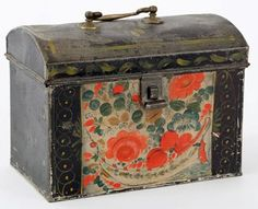 Decorative Document Boxes Rare Berlinware Early American Paint Decorated Document Box Blue