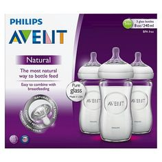 Philips Avent Natural Glass Bottle- 4 oz (3 Pack) : Target