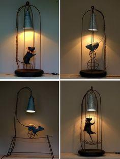 ratones Unique Lighting, Home Lighting, Light Art, Lamp Light, Steampunk Design, Rustic Lamps, Funky Furniture, Black Decor, Lamp Shades