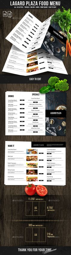 Lagard Plaza Trifold A4 and US Letter Menu