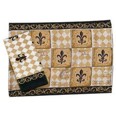 Amazon.com: Majestic Black & Tan Fleur de Lis Kitchen Print Placemats Set of 4