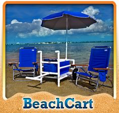 Highest quality PVC beach cart, fishing cart, kayak cart, paddle board (SUP) cart and scuba cart configurations. Fishing Trolley, Beach Fishing Cart, Beach Cart, Beach Camping, Beach Fun, Pvc Pipe Crafts, Pvc Pipe Projects, Pvc Pipe Furniture, Beach Wagon