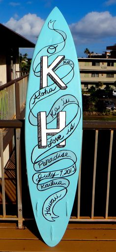 The back of an upcycled surfboard used as a chalkboard menu sign for a wedding. www.laurenelysefineart.com