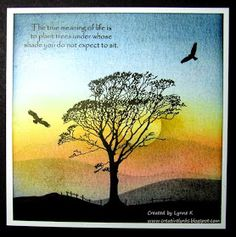 handmade card from Creative Lynks: Been doing the dusting. sunset scene with one gorgeous silhouette tree . luv the receding landscape lines . Hand Made Greeting Cards, Greeting Cards Handmade, Birthday Cards For Men, Handmade Birthday Cards, Inkylicious Cards, Distress Ink Techniques, Serene Silhouettes, Screen Cards, Craftwork Cards