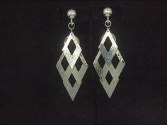 Fashion Modern Silvertone Diamond Dangle Clip On/Non Pierced Earrings 3.5 in #6849 by WhimzRecycledJewelry on Etsy