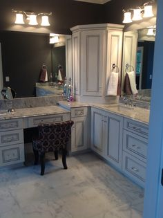 Master bath white gray accents marble floor