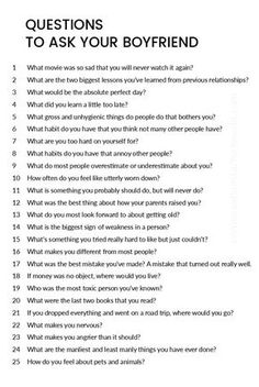 A great list of questions to ask your boyfriend! is part of Secret Relationship quotes Fall - A great list of questions to ask your boyfriend! Questions To Get To Know Someone, Deep Questions To Ask, List Of Questions, Getting To Know Someone, This Or That Questions, Dating Questions, Truth Or Dare Questions, Would You Rather Questions, Funny Questions
