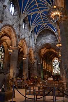 Saint Giles Cathedral - also known as the High Kirk of Edinburgh, on the Royal Mile - Edinburgh, Scotland  it dates back to the 14th cent