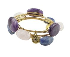 Crystal Wire Bangle Set of 3 Amethyst, Rose Quartz, Blue Stone Agate -- More info could be found at the image url.