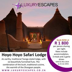 Book Hoyo Hoyo Safari Lodge Now for ONLY R 1800 per person sharing per night. Rate includes accommodation, 3 meals and 2 game drives daily. T&C Apply. www.luxuryescapes.co.za
