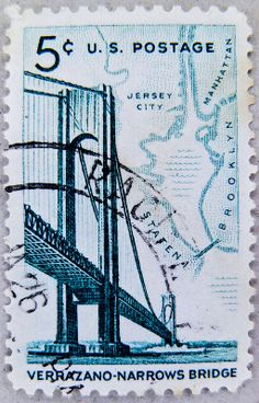 "great stamp USA 5c u.s. postage (Varrazano-Narrows Bridge / Brooklyn-Staten Island; bridge known as ""Start"" of New York City Marathon)"