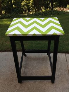 Chevron pattern table. Classroom furniture makeovers.